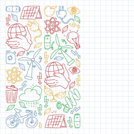 Vector design and badge in trendy drawing style - zero waste concept, recycle and reuse, reduce - ecological lifestyle and sustainable developments icons. colorful. drawing on squared notebook.