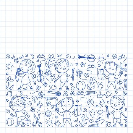 creative kids dancing, sing, playing football, playing guitar, violin, making models from paper. Monochrome pen drawing on squared notebook Иллюстрация
