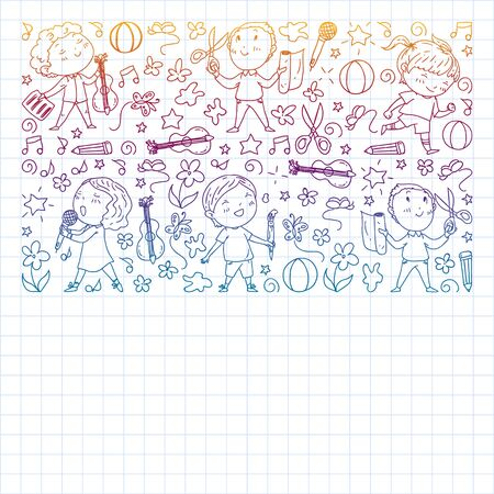creative kids dancing, sing, playing football, playing guitar, violin, making models from paper. Monochrome pen drawing on squared notebook Illustration