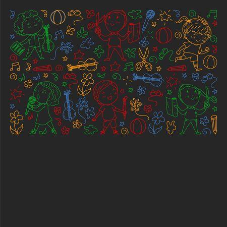 creative kids dancing, sing, playing football, playing guitar, violin, making models from paper. colorful chalk drawing on blackboard. Иллюстрация