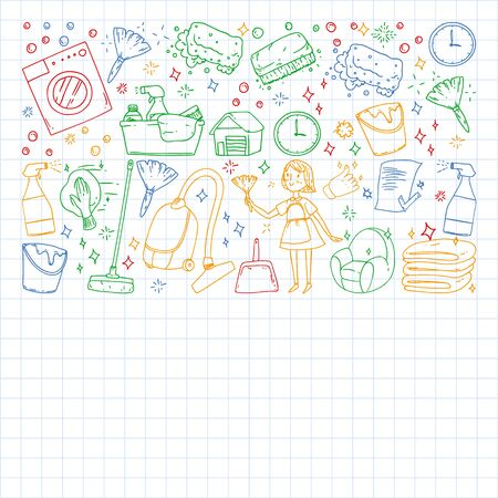 Cleaning services company vector pattern, squared notebook. Banque d'images - 130692606
