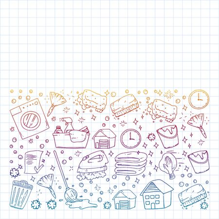 Cleaning services company vector pattern, squared notebook