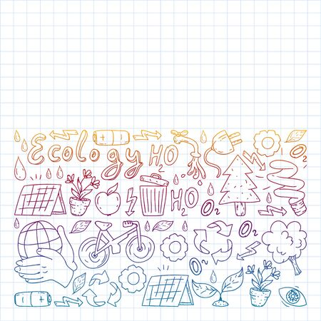 Vector pattern with kindergarten, toy children. Happy children illustration. Gradient drawing on a notebook in a Squared notebook.