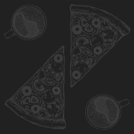 Vector Pizza slice drawing. Hand drawn pizza illustration. Great for menu, poster or label.