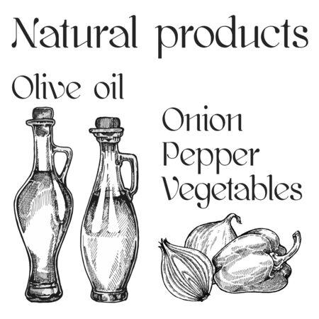 Vegetable oil assorted bottles set. Olive, sunflower, soybean  illustration