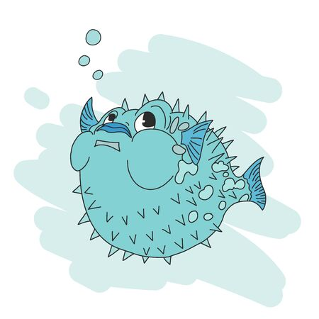 Cute puffer fish cartoon , vector illustration , marine theme.
