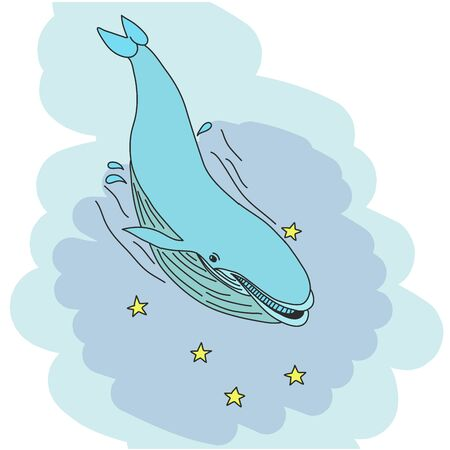 Blue whale - watercolor hand drawing vector paint Ilustrace