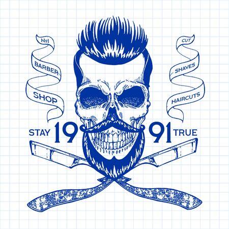 Vintage, hipster skull barbershop logo in old style, vector. Reklamní fotografie - 133565010