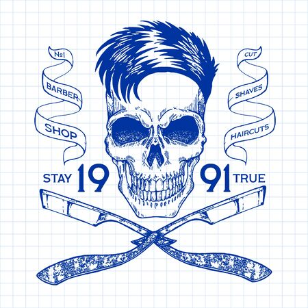 Vintage, hipster skull barbershop logo in old style, vector. Reklamní fotografie - 133564931