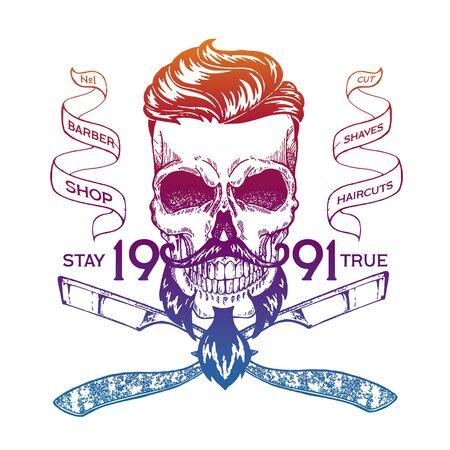 Vector illustration. Vintage, hipster skull barber shop logo in old, neon style. Illusztráció