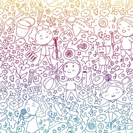 Painted by hand style pattern on the theme of childhood kindergarten. Vector illustration for children design.