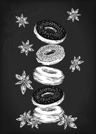 illustration of donuts with anise flowers on a dark,  for cafe and restaurant.