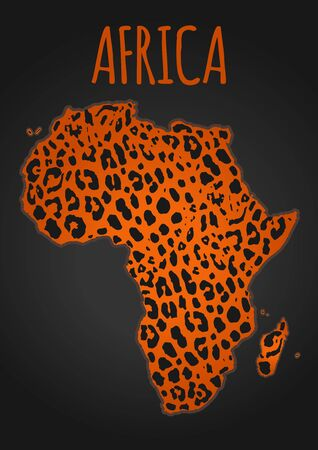 africa, continent silhouette, leopard print fill.