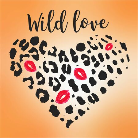Animal pattern for textile design Vector illustration in heart form with Lips Kiss. Wild love.