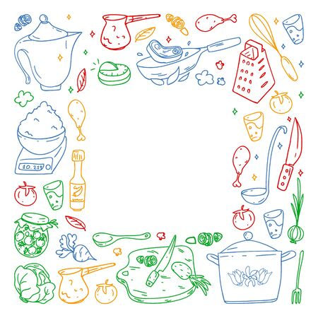 colored pattern by crayons, gastronomy icons, vector cuisine and fast food cafe bright background for menu, receipts.