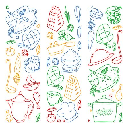 colored pattern drawn by crayons, gastronomy icons, vector cuisine and fast food cafe bright background for menu, receipts