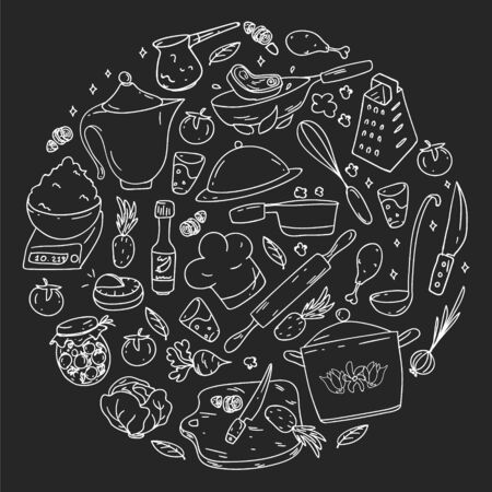 Pattern on blackboard drawn in chalk, with gastronomy icons, vector cuisine and fast food cafe bright background for menu, receipts