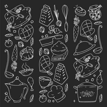Pattern on blackboard drawn in chalk, with gastronomy icons, vector cuisine and fast food cafe bright background for menu, receipts.