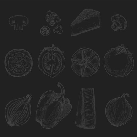 Drawing, pizza, table, organic food ingredients. Hand drawn pizza illustration. Great for menu, poster or label on blackboard background. Reklamní fotografie
