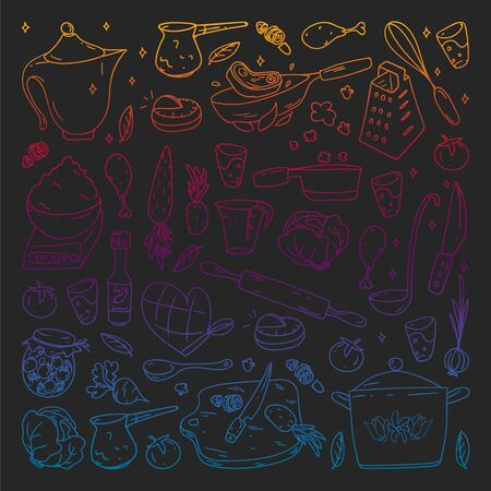 Gradient pattern on blackboard drawn in chalk, with gastronomy icons, vector cuisine and fast food cafe bright background for menu, receipts. Banco de Imagens