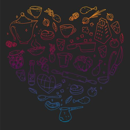 Gradient pattern on blackboard drawn in chalk, with gastronomy icons, vector cuisine and fast food cafe bright background for menu, receipts. Ilustração