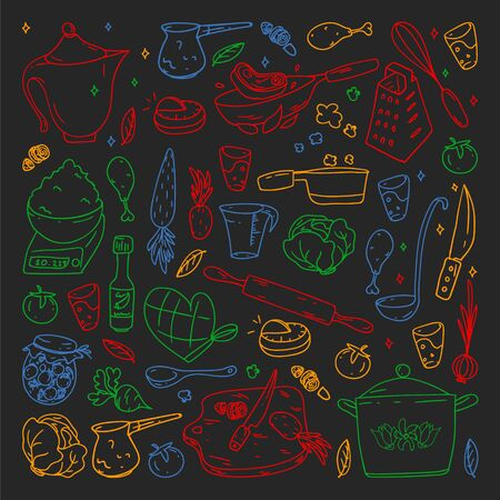 Pattern on blackboard drawn in colorful style, with gastronomy icons, vector cuisine and fast food cafe bright background for menu, receipts. Ilustração