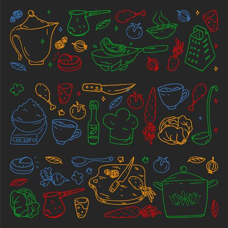 Pattern on blackboard drawn in colorful style, with gastronomy icons, vector cuisine and fast food cafe bright background for menu, receipts. 일러스트
