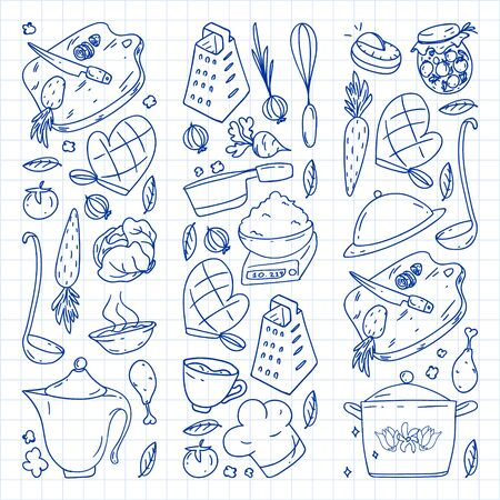 Pattern with gastronomy icons, vector cuisine and fast food cafe bright background for menu, receipts. Drawn with a pen, on a sheet of checkered paper on a white background. Ilustração