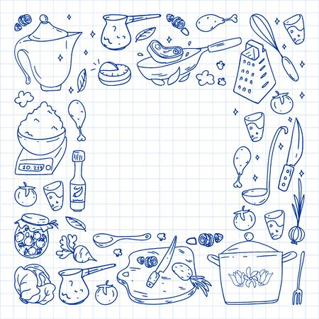 Pattern with gastronomy icons, vector cuisine and fast food cafe bright background for menu, receipts. Drawn with a pen, on a sheet of checkered paper on a white background. 일러스트