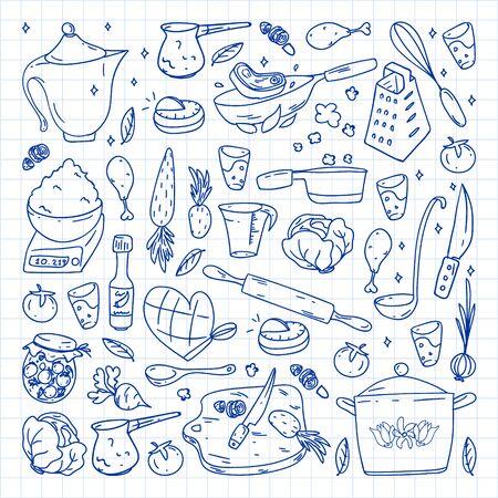 Patrón con iconos de gastronomía, cocina de vector y fondo brillante de café de comida rápida para menú, recibos. Dibujado con un bolígrafo, en una hoja de papel cuadriculado sobre un fondo blanco.