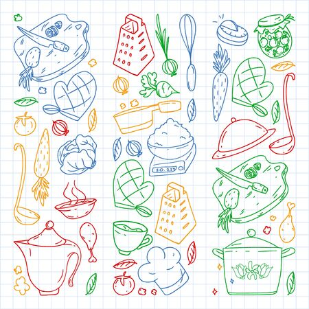 Pattern with gastronomy icons, vector cuisine and fast food cafe bright background for menu, receipts. Colorful, pictures on a sheet of checkered paper on a white background