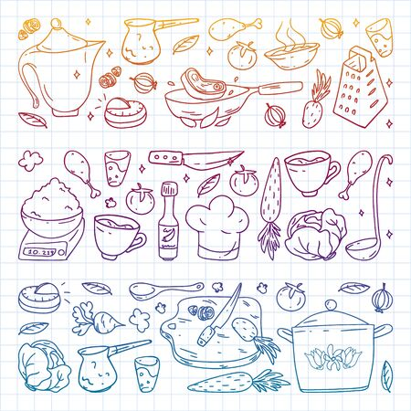 Vector set of cooking, gastronomy, vector cuisine and fast food cafe icons in doodle style. Painted, colorful, gradient, on a sheet of checkered paper on a white background