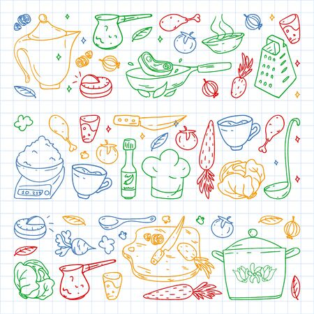 Pattern with gastronomy icons, vector cuisine and fast food cafe bright background for menu, receipts. Colorful, pictures on a sheet of checkered paper on a white background.