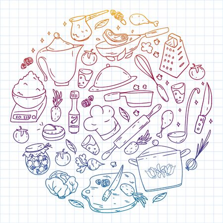 Vector set of cooking, gastronomy, vector cuisine and fast food cafe icons in doodle style. Painted, colorful, gradient, on a sheet of checkered paper on a white background.