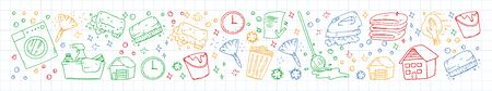 Cleaning services company vector pattern, icons in doodle style.