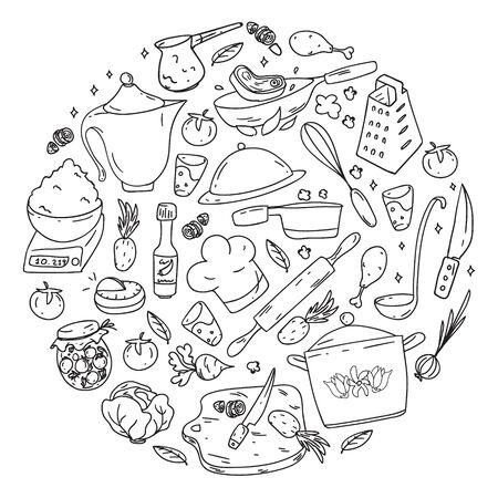 Monochrome pattern with gastronomy icons, vector cuisine and fast food cafe bright background for menu, receipts.