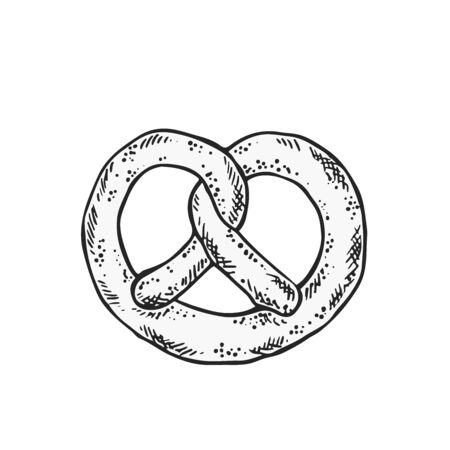 Vector illustration of pretzel salty pastry illustration in black and white on isolated background
