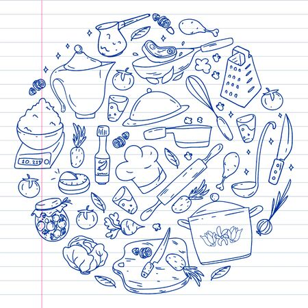 Pattern with gastronomy icons, vector cuisine and fast food cafe bright background for menu, receipts. Drawn with a pen, on a sheet of line paper on a white background Vettoriali