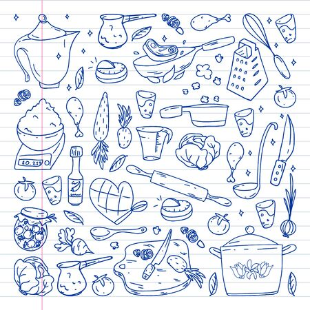 Pattern with gastronomy icons, vector cuisine and fast food cafe bright background for menu, receipts. Drawn with a pen, on a sheet of line paper on a white background