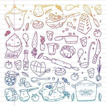 Pattern with gastronomy icons, vector cuisine and fast food cafe bright background for menu, receipts. Drawn with a pen, on a sheet with colorful gradient of line paper on a white background