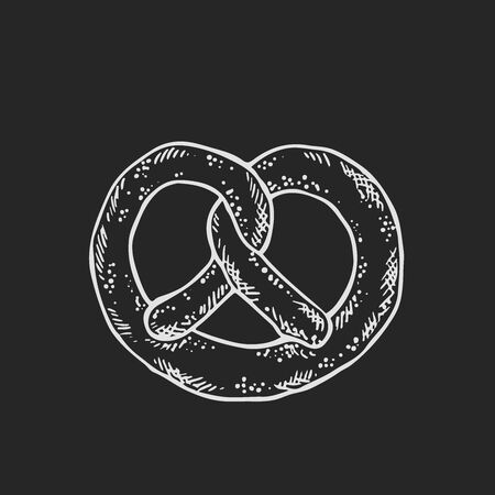 Vector illustration of pretzel salty pastry illustration in black and white on isolated a black background,