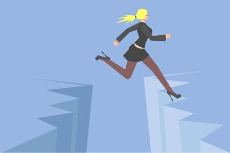 Vector illustration. Avoid business problem trouble overcome obstacle crisis risk concept flat vector. businesswoman jump over earth ground crack rift. Creative people collection. Illustration