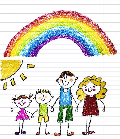 Happy family with little children. Mother and father with kids. Brother and sister with parents. My family with house and rainbow. Kids drawing style illustration isolated on white background.
