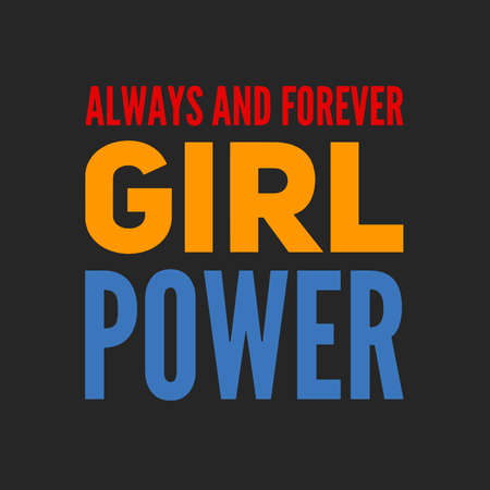 Girl power text, feminism slogan. Black inscription for t shirts, posters and wall art. Feminist sign handwritten with ink and brush. on a black background.