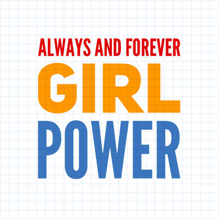 Girl power text, feminism slogan. Black inscription for t shirts, posters and wall art. Feminist sign handwritten with ink and brush. on a white background.