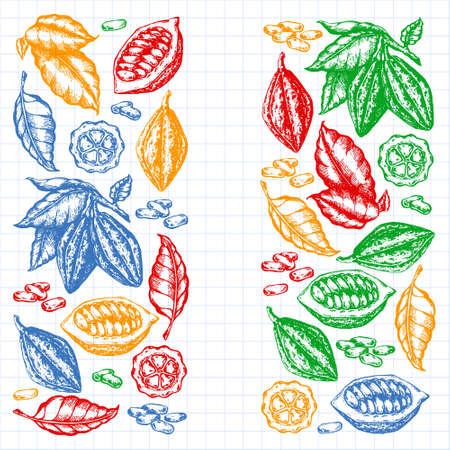 Cocoa beans illustration. Engraved new style, colorful, variegated illustration. Chocolate cocoa beans. Vector illustration Çizim