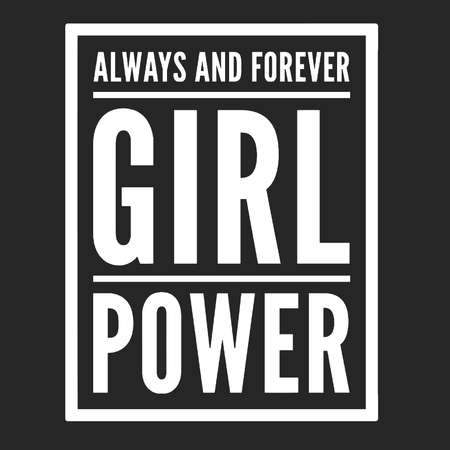 Girl power text, feminism slogan. Black inscription for t shirts, posters and wall art. Feminist sign handwritten with ink and brush. Çizim