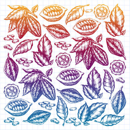 Cocoa beans illustration. gradient new style, colorful, variegated illustration. Chocolate cocoa beans. illustration