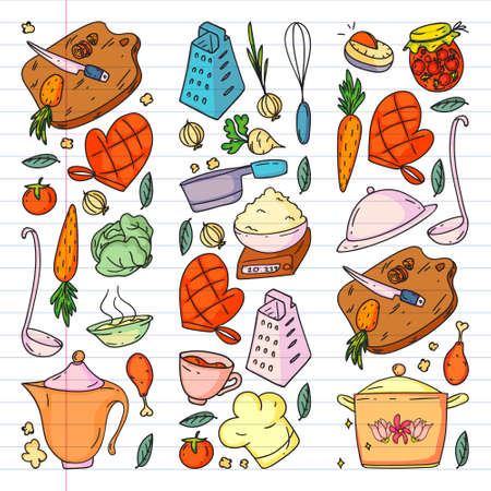 Pattern with gastronomy icons, vector cuisine and fast food cafe bright background for menu, receipts.