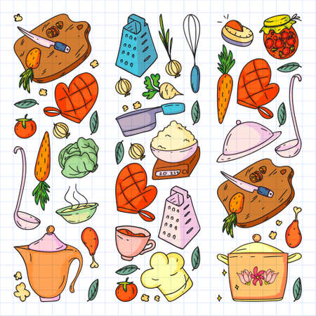 colored pattern drawn by crayons, gastronomy icons, vector cuisine and fast food cafe bright background for menu, receipts.